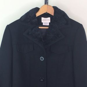 St Johns Bay Wool Jacket Black S Faux Fur Trim